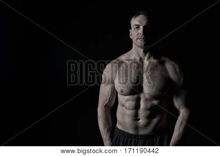 Sexy Muscular Male Torso With Hairy Chest Of Man Workout