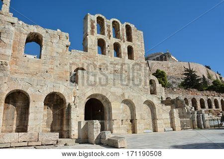Odeon of Herodes Atticus ruins on Acropolis of Athens