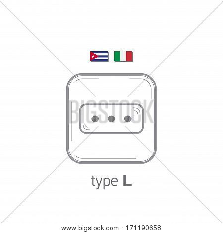 Sockets icon. Type L. AC power sockets realistic illustration. Different type power socket set, vector isolated icon illustration for different country plugs