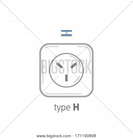Sockets icon. Type H. AC power sockets realistic illustration. Different type power socket set, vector isolated icon illustration for different country plugs