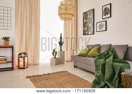 Room With Blanket On Couch