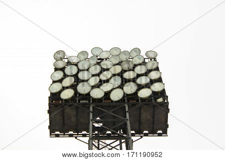 Spotlight, Stadium lights isolated on white background