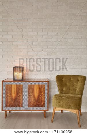 Lantern On Wooden Commode