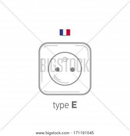 Sockets icon. Type E. AC power sockets realistic illustration. Different type power socket set, vector isolated icon illustration for different country plugs