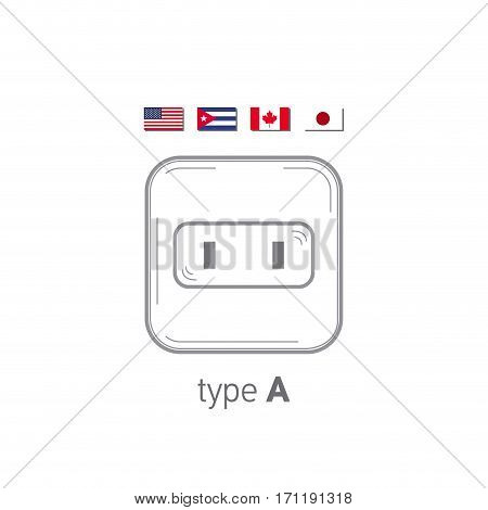 Sockets icon. Type A. AC power sockets realistic illustration. Different type power socket set, vector isolated icon illustration for different country plugs