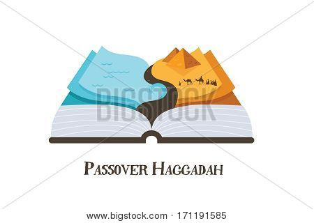 abstract pssover story haggadah book . Jews out of Egypt. vector illustration