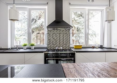 Cooker And Eave In Modern Kitchen