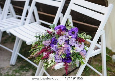 Wedding decoration of flowers to decorate the ceremony in the park.