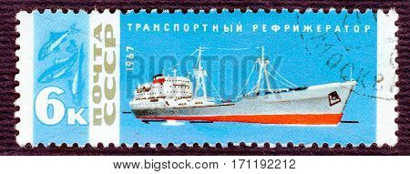 USSR - CIRCA 1967: Postage stamp printed in USSR with a picture of transport refrigerator, from the series