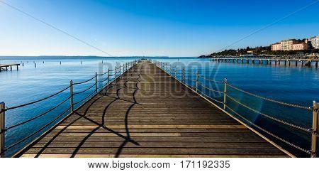 Wooden Pier In Touristic Resort Portoroz - Slovenia.