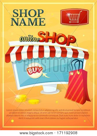 Online Shop concept poster with computer stylized storefront, shopping bag and coins, vector illustration