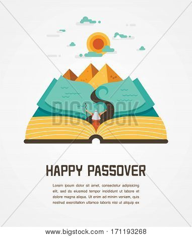 passover story haggadah book with Egypt landscape . abstract design vector illustration