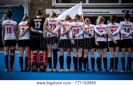 VALENCIA, SPAIN - FEBRUARY 12: Polish players during Hockey World League Round 2 Final match between Spain and Poland at Betero Stadium on February 12, 2017 in Valencia, Spain