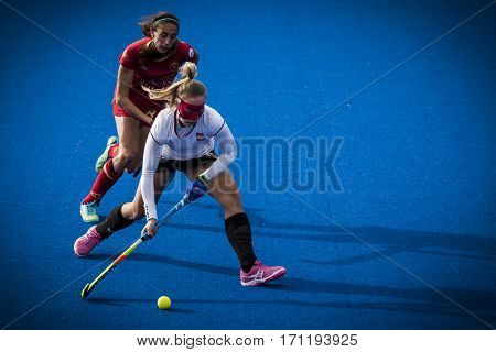 VALENCIA, SPAIN - FEBRUARY 12: Wypijewska with ball during Hockey World League Round 2 Final match between Spain and Poland at Betero Stadium on February 12, 2017 in Valencia, Spain
