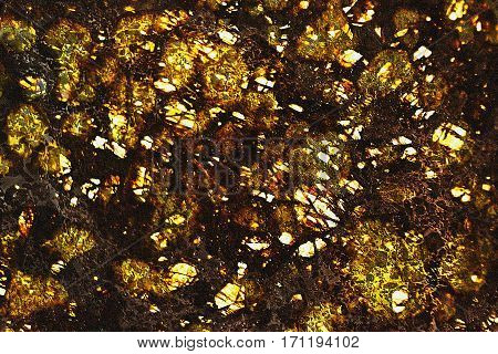 abstract golden mineral background old stone close