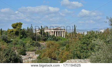Ancient Temple of Hephaestus viewed from Athens Agora