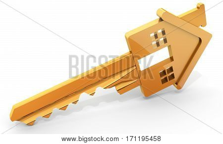 golden house shaped key on white background 3D illustration