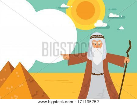 Moses from Passover story and Egypt pyramid landscape. vector illustration