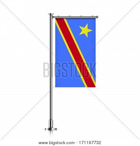 Congo vector banner flag hanging on a silver metallic pole. Vertical flag template of Congo Democratic Republic, isolated on a white background.