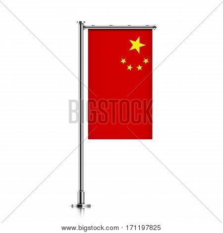 China vector banner flag hanging on a silver metallic pole. Peoples Republic of China vertical flag template isolated on a white background.