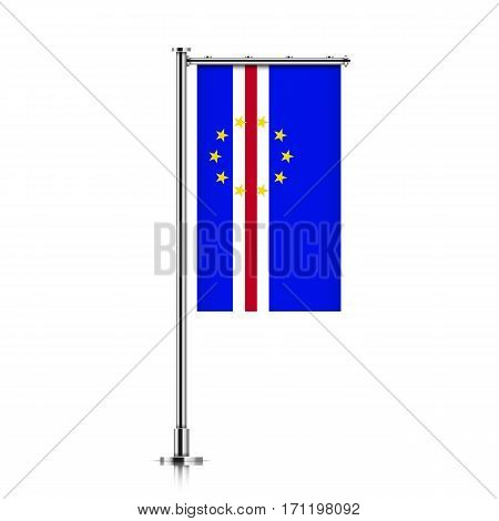 Cape Verde vector banner flag hanging on a silver metallic pole. Cape Verde vertical flag template isolated on a white background.