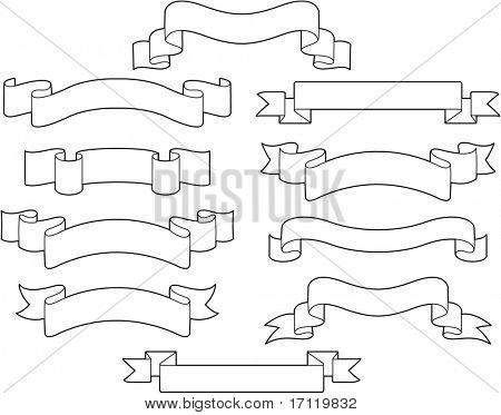 Set of white ribbons