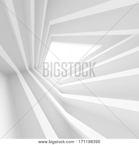 3d Rendering of White Abstract Tunnel Background. Creative Modern Industrial Concept.