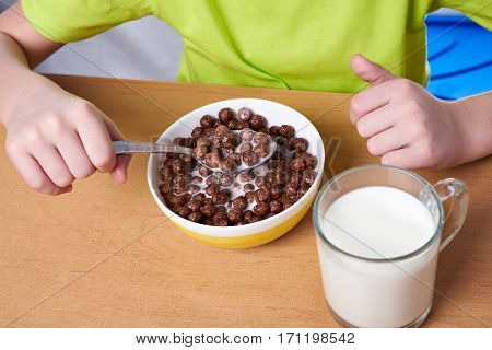 Cereal Chocolate Balls And Glass Of Milk