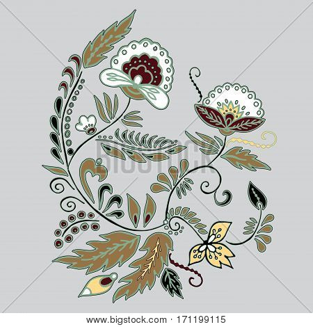 stock vector abstract hand draw flower and wave doodle bouquet. oriental or arabic russia art background. template for card. banner