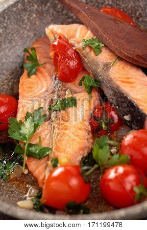 Fried Salmon  With Vegetables.