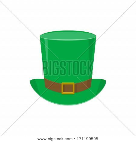 Vector illustration of green leprechaun top hat with gold buckle for poster, banner, flyer templates isolated on white background in flat style