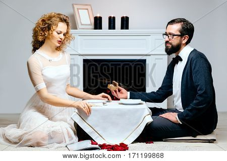 Portrait of a couple enjoying each other's company in a romantic dinner