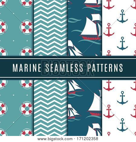 Nautical seamless patterns for kids. Marine vector background set with sailboat, sea anchor and yacht. Sailboat in wave ocean, marine yacht travel in sea illustration