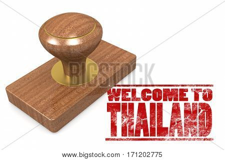 Red Rubber Stamp With Welcome To Thailand