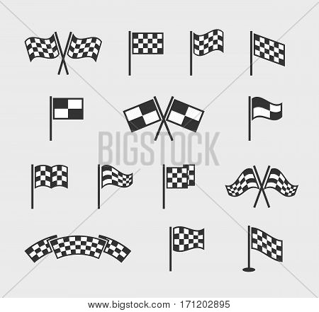 Checkered vector flags. Racing waving finish and start line flag set isolated on white background. Flag finishing for motocross competition illustration