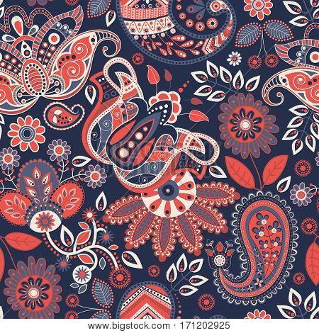 Seamless Paisley background, floral pattern. Colorful ornamental background. Indian ornament