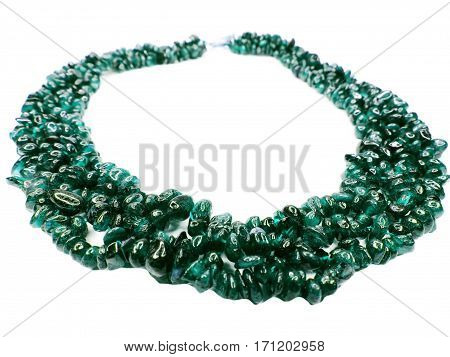green emerald gemstone beads isolated on white background