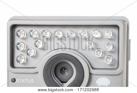 Bank of multiple LEDs that serve as a security camera flash