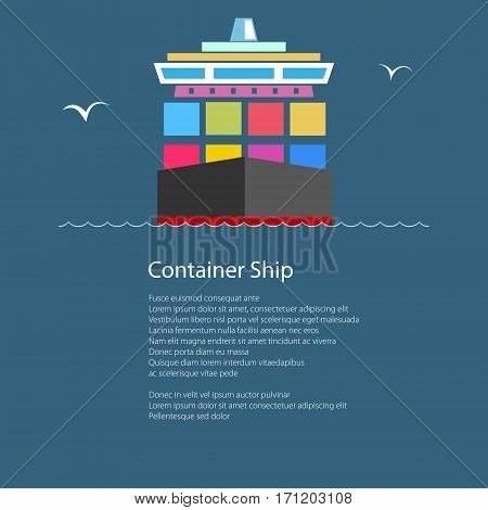 Front View of the Cargo Container Ship at Sea and Text, Industrial Marine Vessel with Containers on Board, International Freight Transportation, Poster Brochure Flyer Design, Vector Illustration