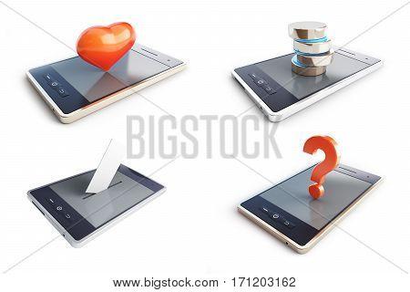 phone concept set on a white background 3D illustration