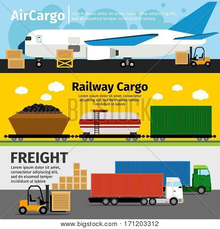 Cargo transportation banners. Logistics and sea and air loads delivery vector illustration. Delivery loads train and trailer car