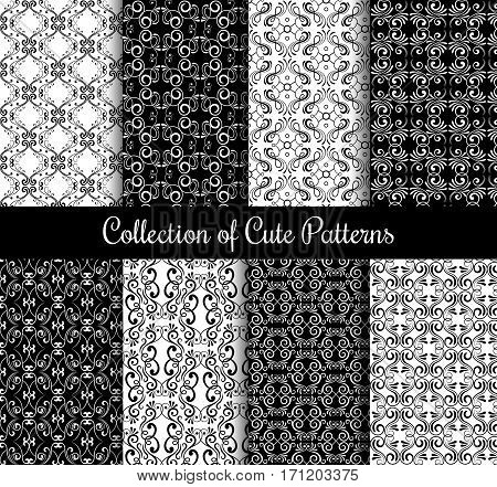 Floral arabic pattern set. Black and white modern arabesque vector seamless patterns. Collection of monochrome arabic background illustration