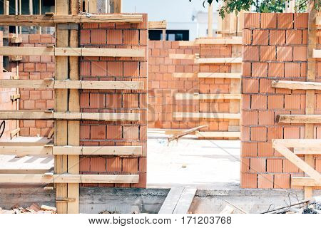 Construction Site Tools And Details - Wooden Ladder, Brick Layers, Wood, Timber And Exterior Brick W