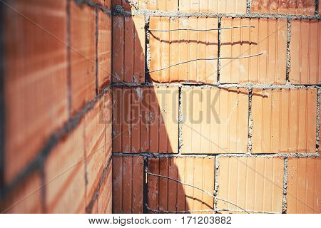 Details Of Brickwork. Construction Site With Exterior Walls, Building Details