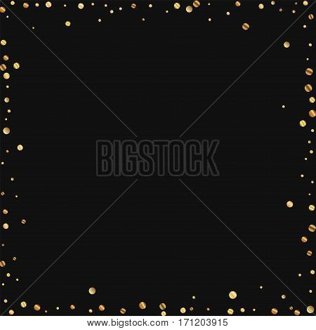 Sparse Gold Confetti. Chaotic Frame On Black Background. Vector Illustration.