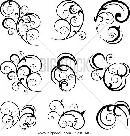 Vector decorative swirling flourishes