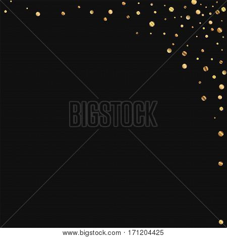 Sparse Gold Confetti. Abstract Right Top Corner On Black Background. Vector Illustration.