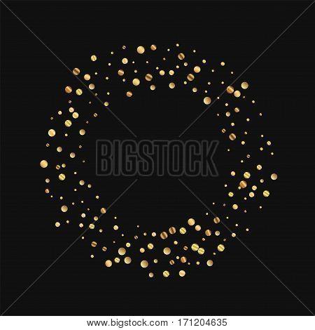 Sparse Gold Confetti. Bagel Frame On Black Background. Vector Illustration.