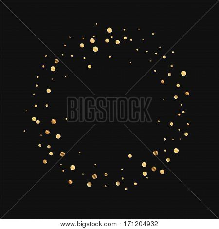 Sparse Gold Confetti. Ring Frame On Black Background. Vector Illustration.