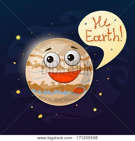 Planet Jupiter gas giant, largest planet of the solar system vector illustration